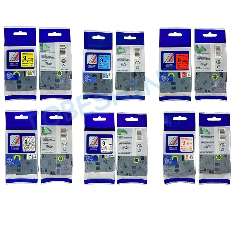 شريط ملصقات مصفح tz 221 ، ألوان مختلطة يمكن اختيارها ، 9 مللي متر ، 3/8 بوصة ، TZ221 tze121 tze421 tze521 tze621