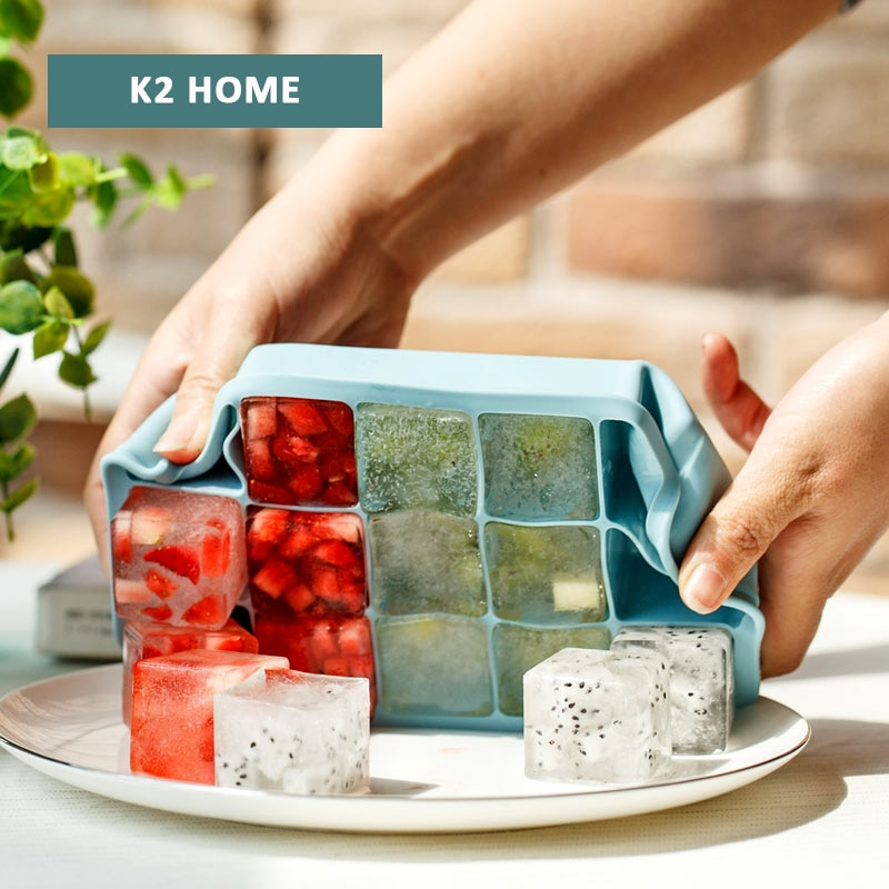 Durável Molde para Grande Cubo de Gelo Silicone Mold Ice Maker Moldes de Silicone Bandeja de Cubos de Gelo máquina de Fazer Gelo Bandeja de Alto Nível azul