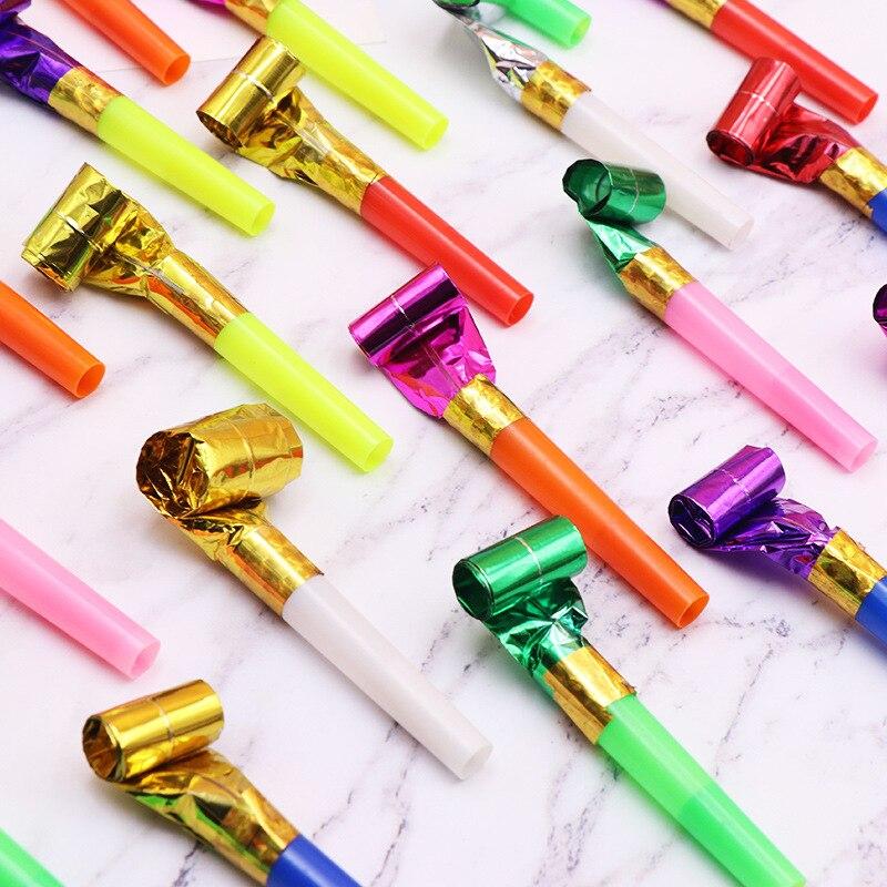 100 unids/lote de silbato de dragón soplado Silbatos de colores divertidos para niños, fiesta de cumpleaños para niños, juguetes para animar