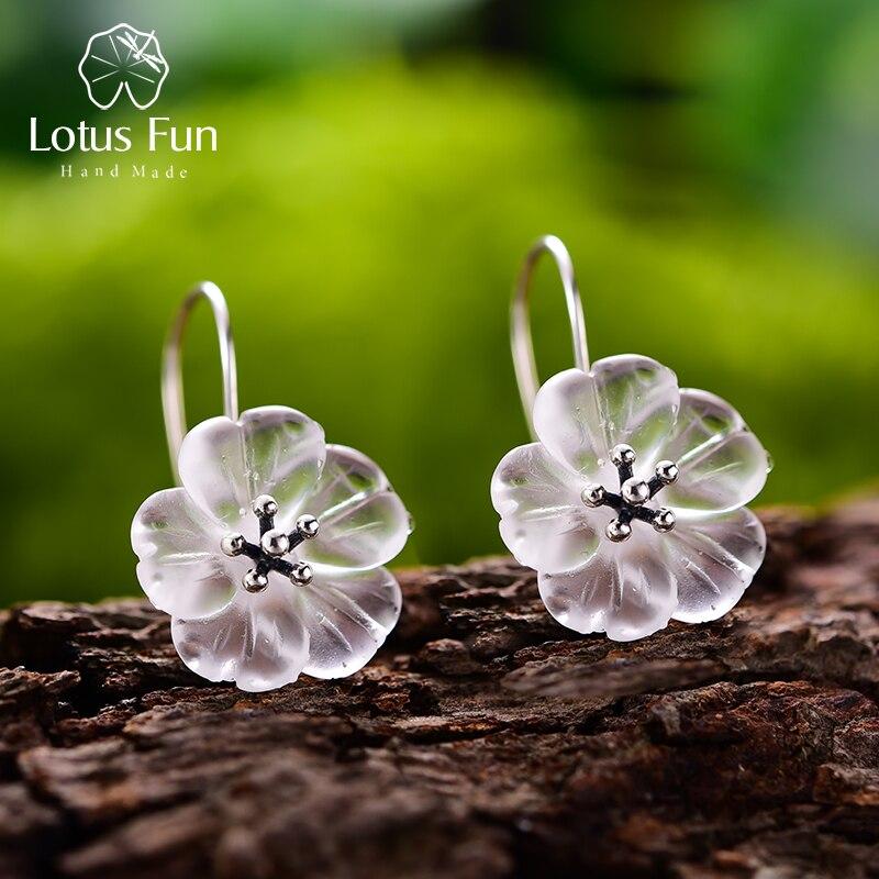 Женские дизайнерские серьги-подвески Lotus Fun из настоящего серебра 925 пробы с цветком под дождем