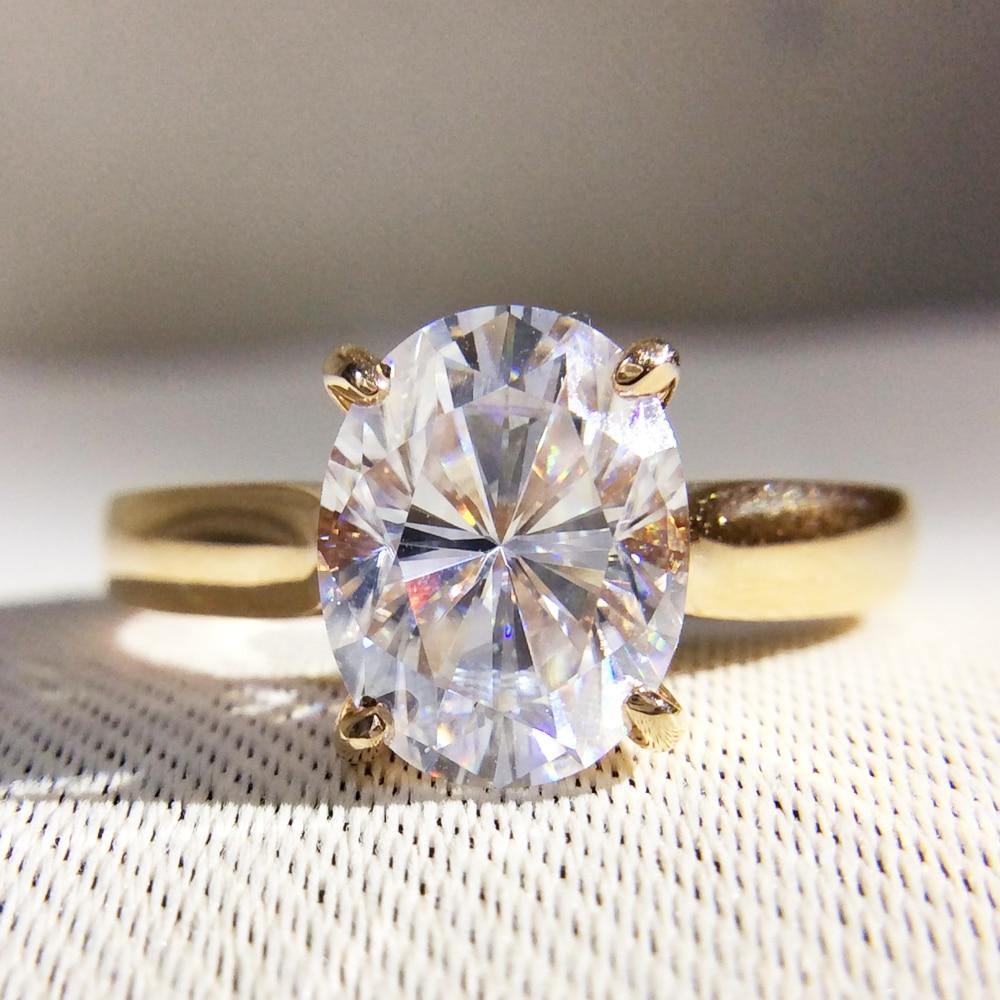 Superbe 1 Carat ct DF couleur laboratoire cultivé ovale Moissanite diamant bague Solitaire fiançailles bague de mariage 14K 585 or jaune