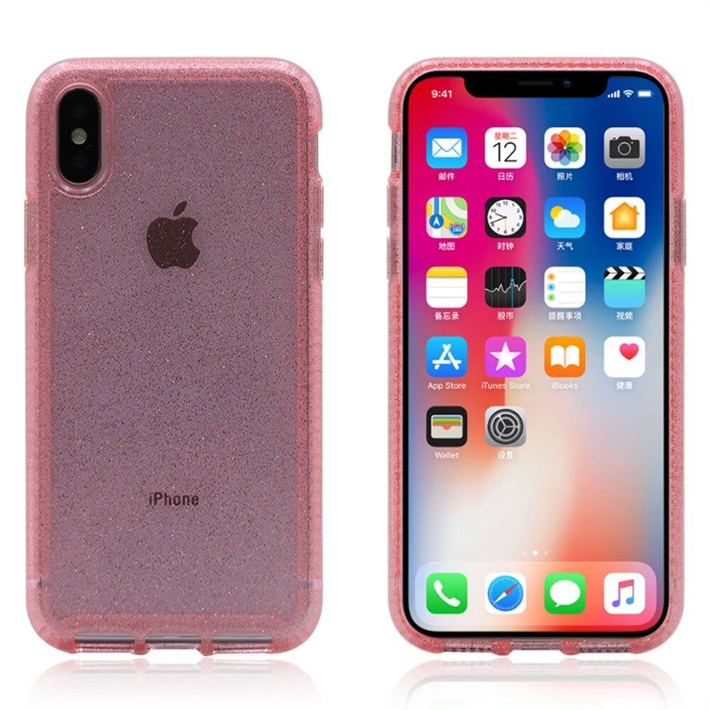 Funda de teléfono móvil Tech21ing a la moda con purpurina a prueba de golpes Burmper para iPhone 6 6s 7 8 Plus X XS