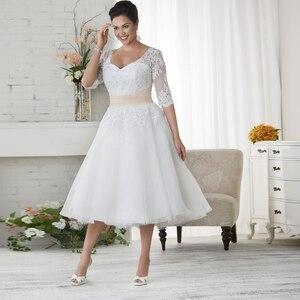 Jiayigong Tea-Length Tulle Wedding Dress Plus Size Vestido De Noiva Half Sleeves Beading Applique A-line Bridal Gowns Plus Size