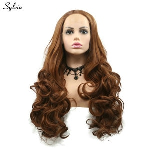 Sylvia 30# Brown Wig for Lady Natural Hairline Honey Blonde Synthetic Lace Front Wigs for Women Party Hair Body Wave Hairstyle