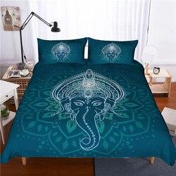 Novo estilo Indiano conjunto de cama King size 3D elefante capa de edredão com fronha conjuntos de cama queen size consolador Boêmio 3 pcs