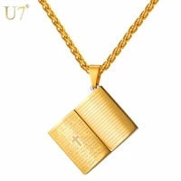 u7 necklace holy bible book shape stainless steel pendant chain unisex christmas gifts christian cross jewelry necklaces p1032