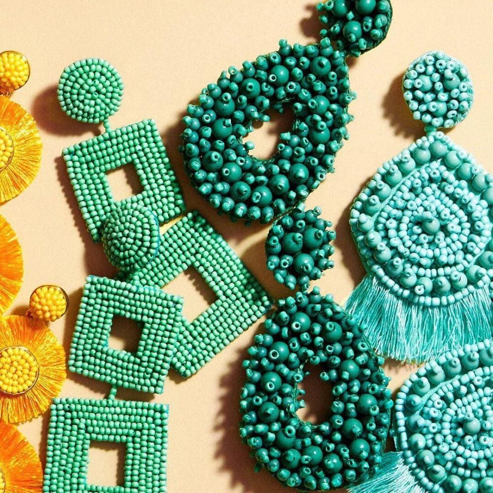Los mejores pendientes de moda BA hechos a mano para mujer, mezcla de estilos, joyería de boda azul, pendientes de gota con flecos, regalo de fiesta, Bisutería