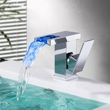 BAKALA Bathroom LED Waterfall Faucet Sink Basin Mixer Tap Square Chromed  Bathroom Mixer Tap Tall or Short BR-714