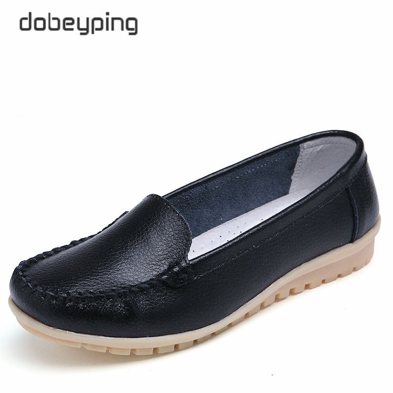 Dobeyping/новая стильная обувь женские мягкие туфли из натуральной кожи на плоской подошве женские лоферы без шнуровки повседневная обувь для м...