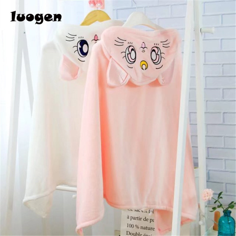 Anime Sailor Moon Cosplay Hooded Cloak Shawls Blankets Cute Neko Artemis Luna Cat Flannels Cloaks Blanket Soft Cap Hoodie