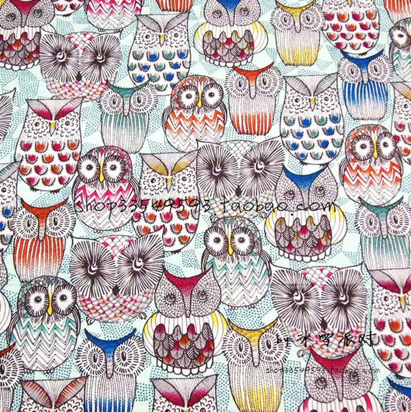 130*50 см 1 шт. модная сова ткань 100% хлопок ткань Telas пэчворк Совы печатная ткань швейный материал Сделай Сам детская одежда стеганая