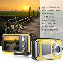 Водонепроницаемая цифровая камера BEESCLOVER, Full HD, подводная камера, 24 МП, видеорегистратор, Селфи, двойной экран, DV, записывающая камера, r29