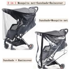 Sombrilla multifuncional para carrito de bebé, Red Anti-mosquitos para carrito, súper protección UV, 3 en 1, parasol para la lluvia, accesorios para cochecito