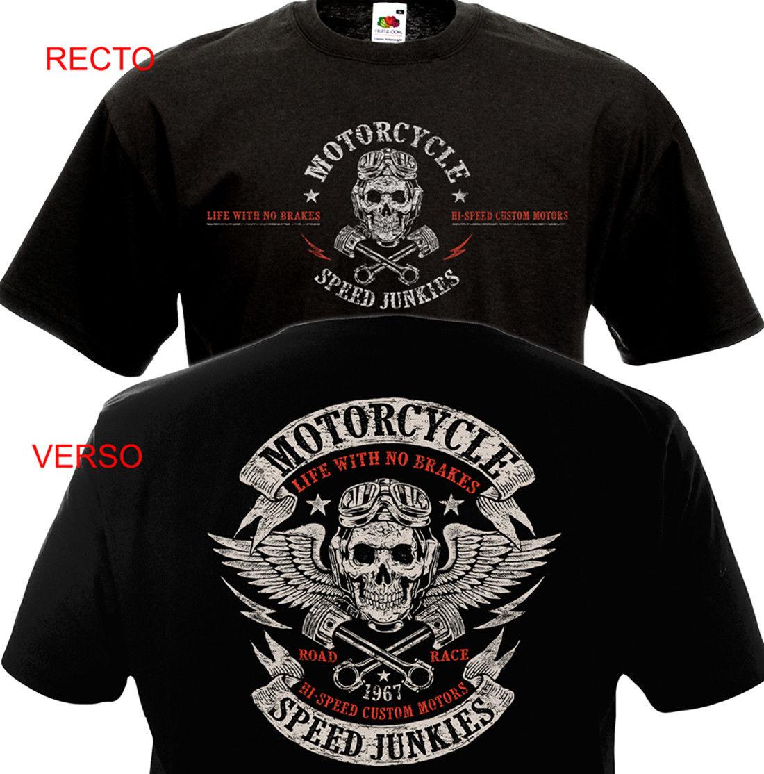 Divertida ropa pantalón corto casual manga camisetas camiseta motocicleta velocidad JUNKIES Biker Chopper Motard MC camiseta