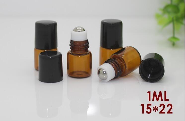 50 pcs/lot 1 ml 2 ml métal rouleau sur bouteille pour huiles essentielles parfum bouteille vide cosmétique conteneurs pour huile échantillon rechargeable