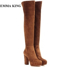 2019 새로운 고품질 갈색 지퍼 무릎 허벅지 높은 부츠 스웨이드 겨울 여성 부츠 플랫폼 하이힐 신발 여성 플러스 크기