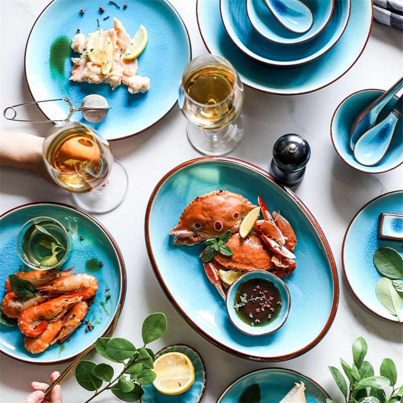 NIMITIME Ceramic Ice Crack Glaze Series  Soup Bowl Rice Bowl Steamed Fish Fruit Bowl Soup Spoon Tableware