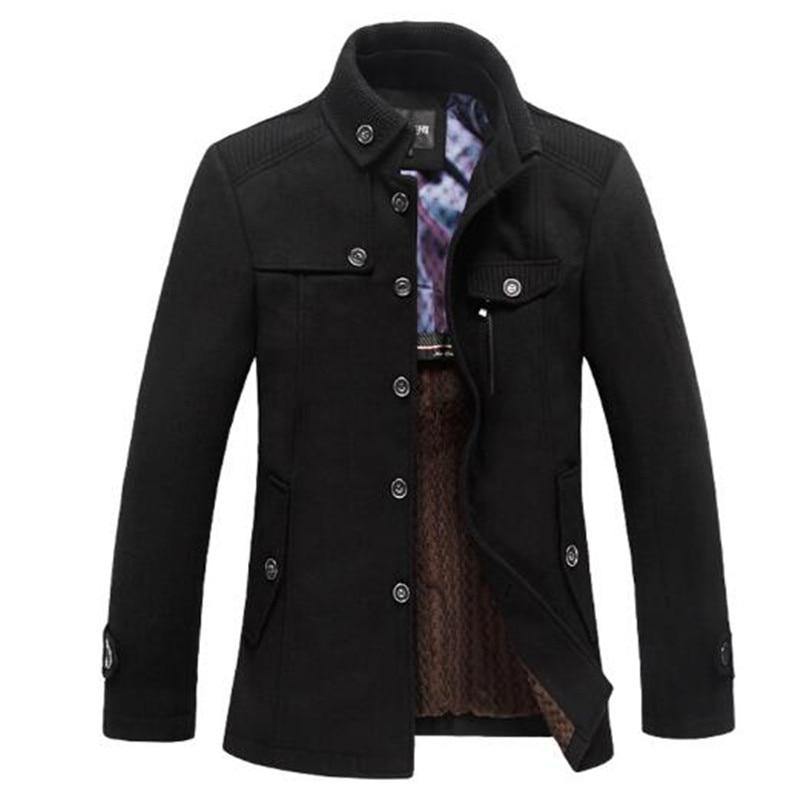 Clásico lana guisante capa hombres Manteau Homme 2016 de moda de invierno para hombre Cachemira gruesa abrigo casual de marca abrigo abrigos 3Xl