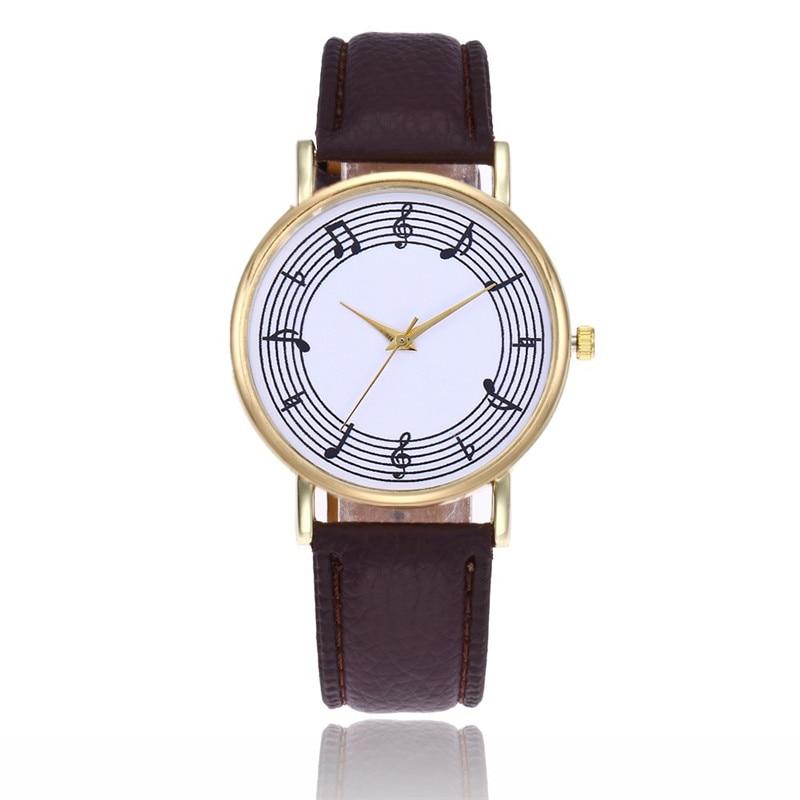 FUNIQUE encantadora mujer reloj de pulsera de cuarzo analógico nota Musical relojes Montre Femme para mujer reloj de pulsera con correa de cuero Dropshipping. Exclusivo.