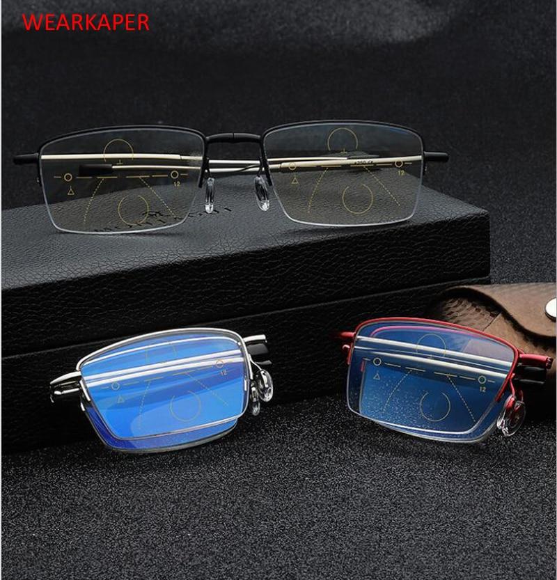 WEARKAPER High-end Multi-Focal Progressive Folding Telescopic Leg Anti Blue Ray Reading Glasses Presbyopia 1.0-4.0 Diopter