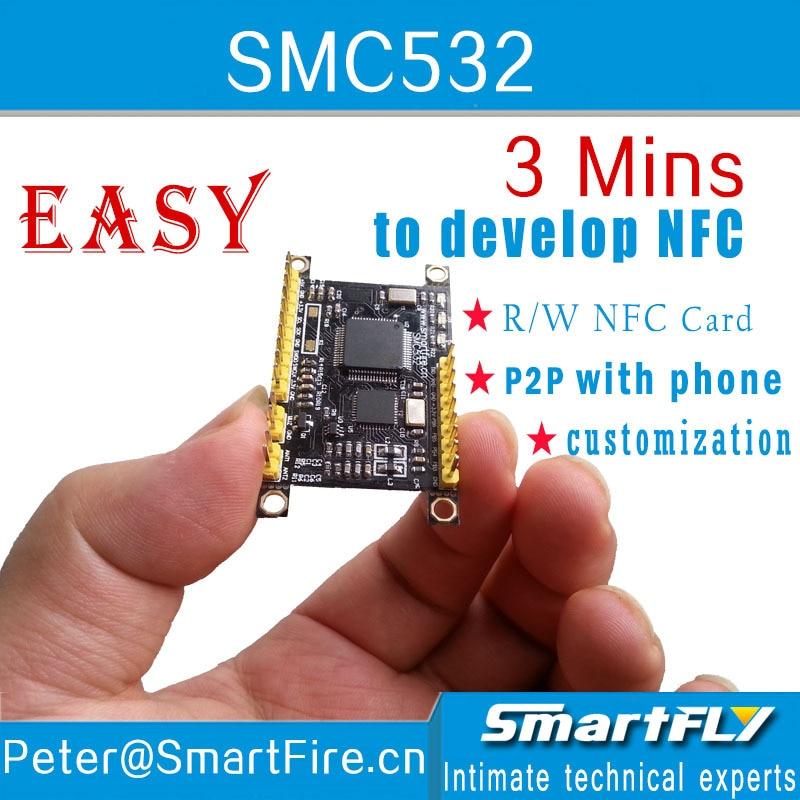 Envío Gratis SMC532 módulo NFC/R/W tarjeta NFC/P2P con teléfono/libnfc/llcp/ISO/IEC 1443A/B/s50/FeliCard/