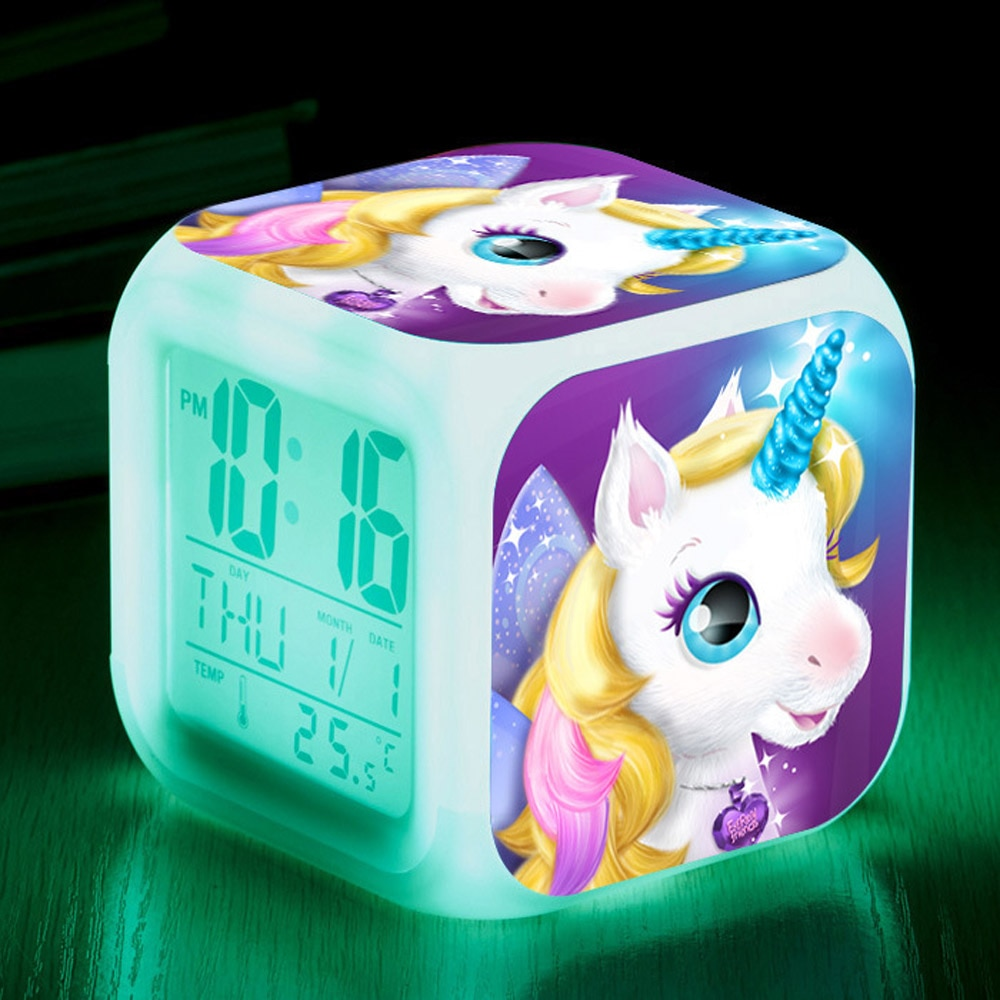 Cute Cartoon Unicorn LED Alarm Clock Children 7 Colors Changing Digital Desk Clocks Night Light Cube Clock Kids Birthday Gifts