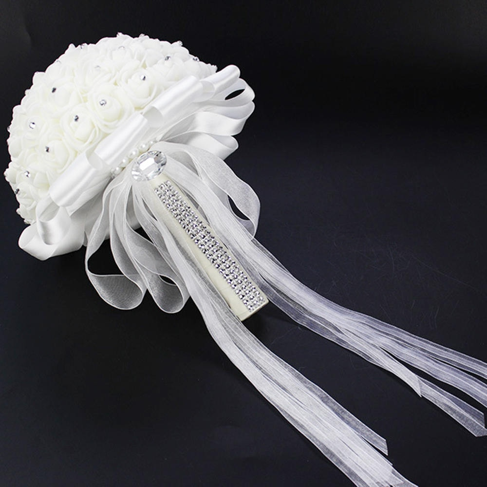 Umjetni vjenčani buketi s ručno izrađenim cvijetom ruže od - Vjenčanje pribor - Foto 6