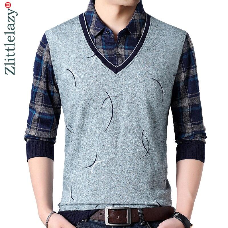 2019 marca casual línea invierno cálido jersey tejido falso dos piezas suéter masculino hombres grueso hombres suéteres jersey ropa 1280
