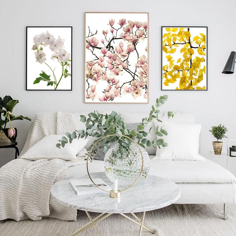 Pintura de lona de Magnolia Ginko de floración nórdica para pared de salón arte de flores imprimir póster de lienzo cuadros de pared decoración del hogar