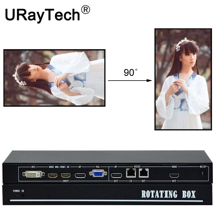 Procesador de caja giratoria de vídeo de TV Vertical con entrada HDMI DP DVI VGA para pantalla Vertical de 90 o 270 grados