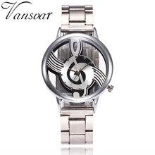 Vansvar Brand Fashion Hollow Music Note Watch Casual Stainless Steel Quartz Wristwatch For Men Women Silver Mesh Watches