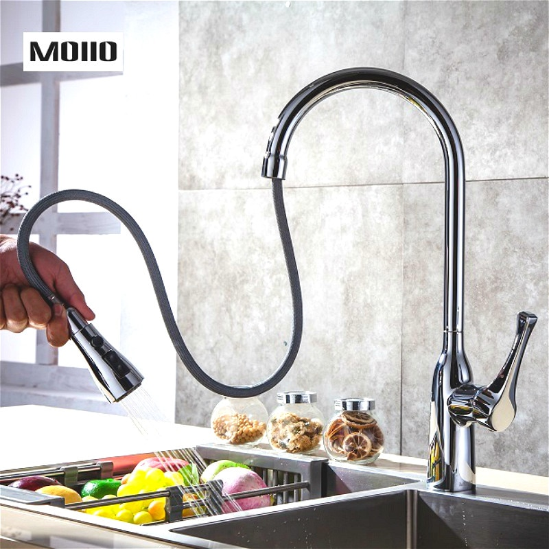 MOIIO Modern Pull-Out Kitchen Faucet Solid Brass Chrome Single hand Pause Button Pull Out Sprayer Kitchen Faucet torneira luxury gold kitchen faucet pull out