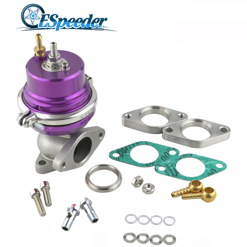 ESPEEDER, Kit externo Turbo de descarga de 38mm, compuerta de desecho de presión ajustable con brida para Turbo de supercarga, colector púrpura