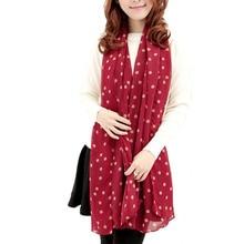 MUQGEW nuevo juvenil estilo chica larga seda suave, chifón bufanda abrigo Polka Dot Popular cómodo chal pañuelo para las mujeres Tippet