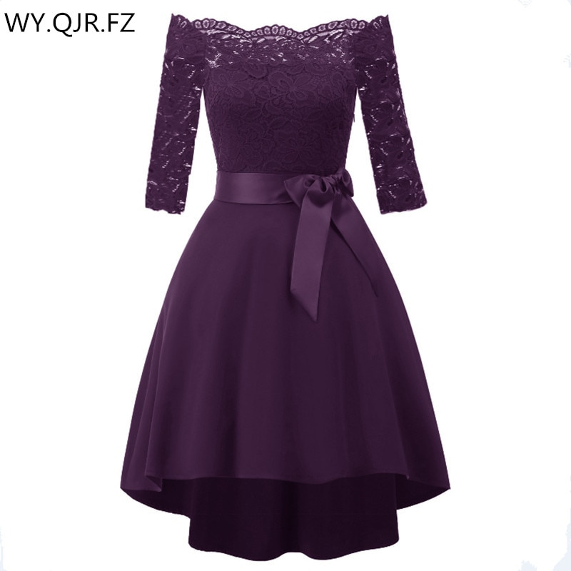 Cd1613j # laço arco barco pescoço curto vestidos de dama de honra uva roxo vestido de festa de casamento vestido de baile de formatura atacado feminino roupas baratas
