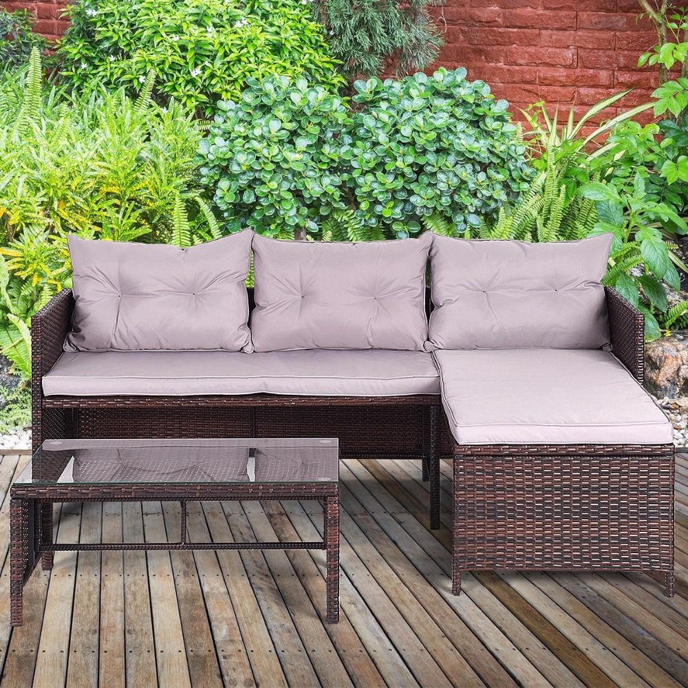 Giantex 3 PCS Outdoor Rattan Furniture Sofa Set Lounge Chaise Sofa ans Coffee Table Cushioned Patio Garden Furniture HW63870