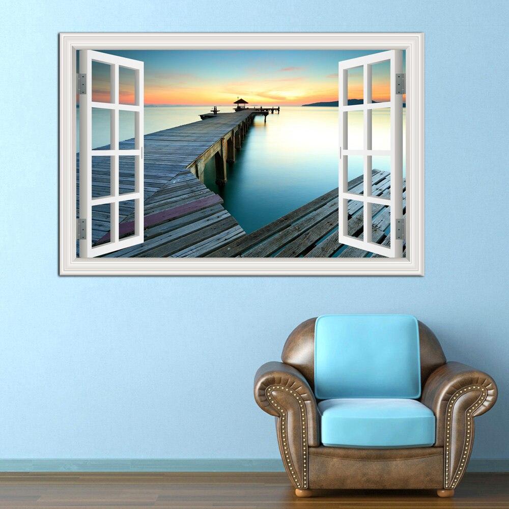 3D наклейки на стену, с окном, видом на закат, море, наклейки на стену, наклейки на стену, обои для гостиной