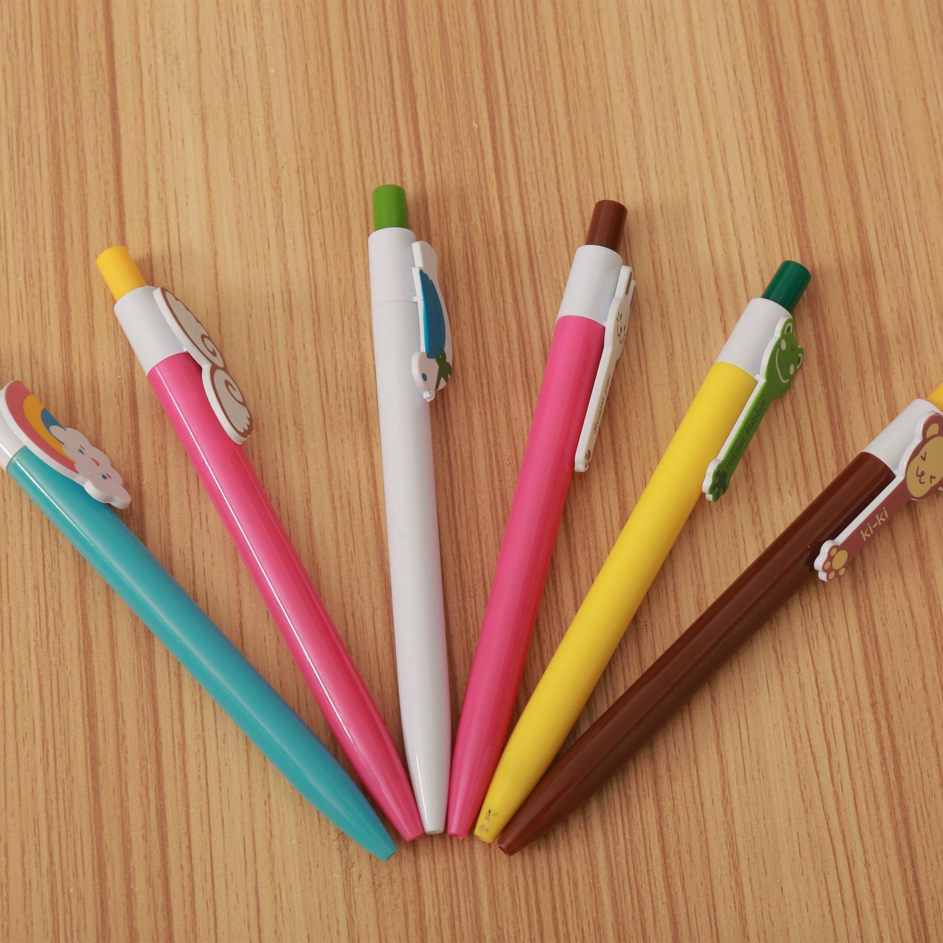 6 шт. пресс шариковая ручка пластиковая креативная Ручка канцелярия для учеников для офисных принадлежностей подарочные ручки Оптовая Прод...