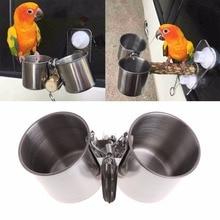 Gobelets alimentaires pour oiseaux   Mangeoire pour oiseaux, eau, Double tasses avec Clip, en acier inoxydable, support perroquet, fournitures doiseaux C42