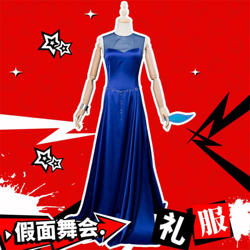 Vestido de fiesta Sexy transparente Persona 5 Ana Takamaki Aira Kurusu Futaba Sakura Cosplay disfraz S-XL vestido azul real Carnaval