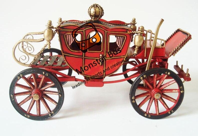 Cavalo desenhado rodas veículo palácio retro clássico carruagem 100% artesanal modelo de chapa de ferro 112 modelo de transporte de metal decoração