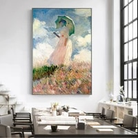 claude monet woman with a parasol wall art canvas paintings reproductions impressionist famous canvas art prints home decoration