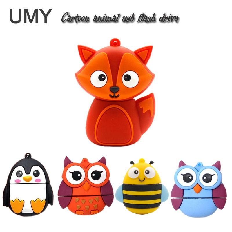 Pendrive cartoon animals usb flash drive pen drive 4GB 8GB 16GB 32GB 64GB cute fox/bee/owl/penguin memory stick lovely gift disk