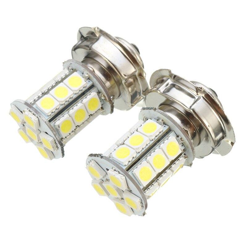 2 uds., 12V AC P26 S 24 SMD, LED blanco, bombillas de faro para motocicleta, Coche