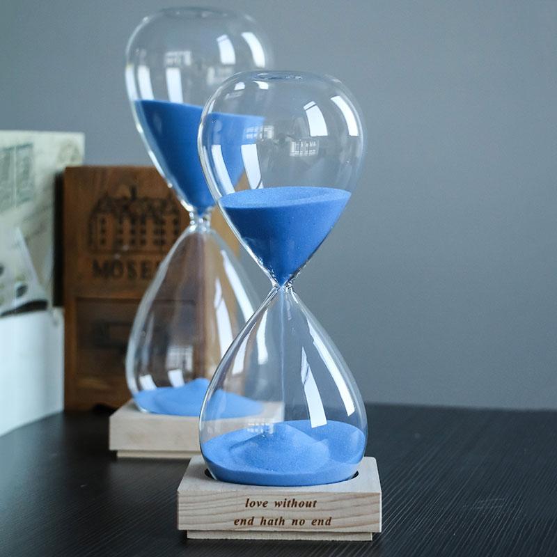 Reloj de arena 60 minutos tiempo de arena 1 hora reloj de madera Color arena artesanías recuerdos creativos accesorios de decoración del hogar