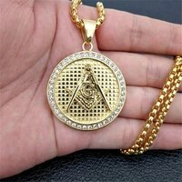 iced out masonic necklace pendant with stainless steel chain gold color bling cubic zircon mens hip hop jewelry for gift