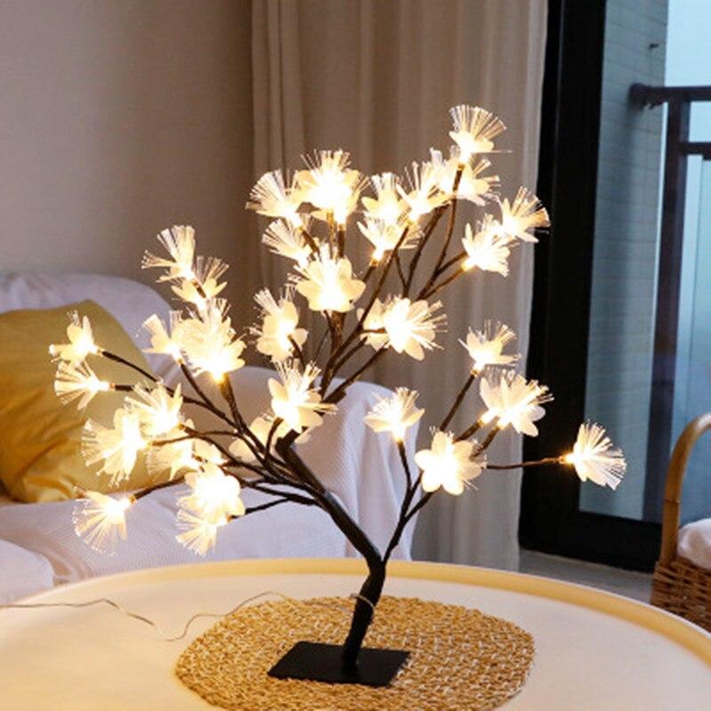 مصباح طاولة LED مصنوع من ألياف الكرز ، ضوء مع مصدر طاقة USB ، إضاءة زخرفية داخلية ، مثالي لعيد الميلاد أو الإجازة أو الزفاف.