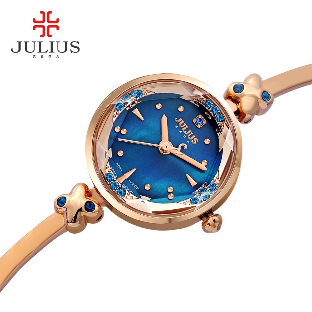2017 Memorial Gift JULIUS Women Creative Slim Strap Watch Golden White Graceful Young Girl Elegant Fashion Quartz Lady Watches enlarge