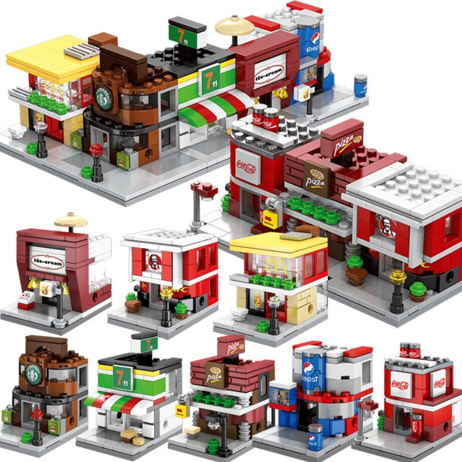 Hot city mini street view building block mcdonals star coffee shop cola pizza hut Haagen-Dazs Ice cream store bricks toys
