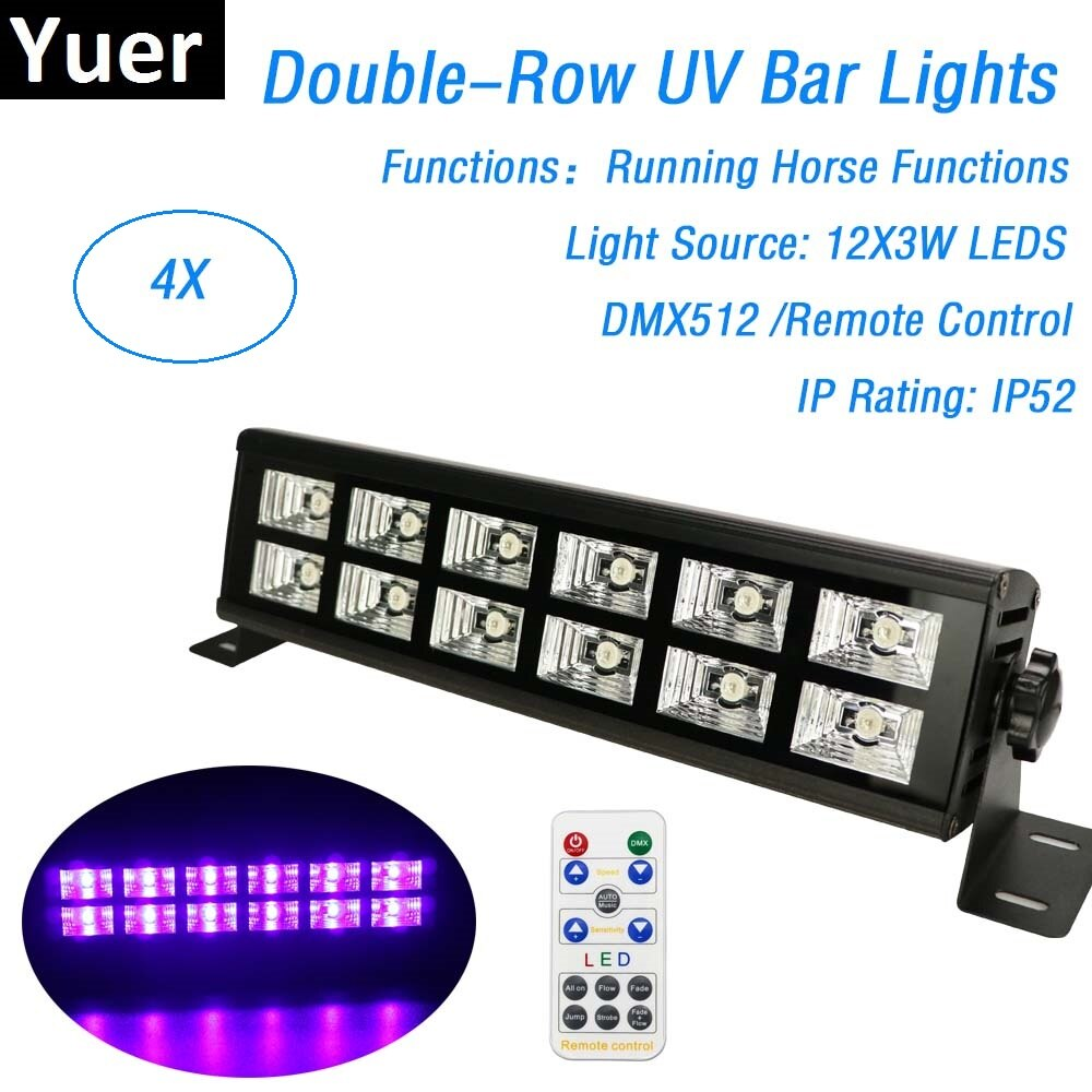 4Pcs UV Black Lights 12X3W Violet LED Blacklight Stage Lighting Effect Indoor Bar Wall Washer For Christmas Party Disco DJ Lamp